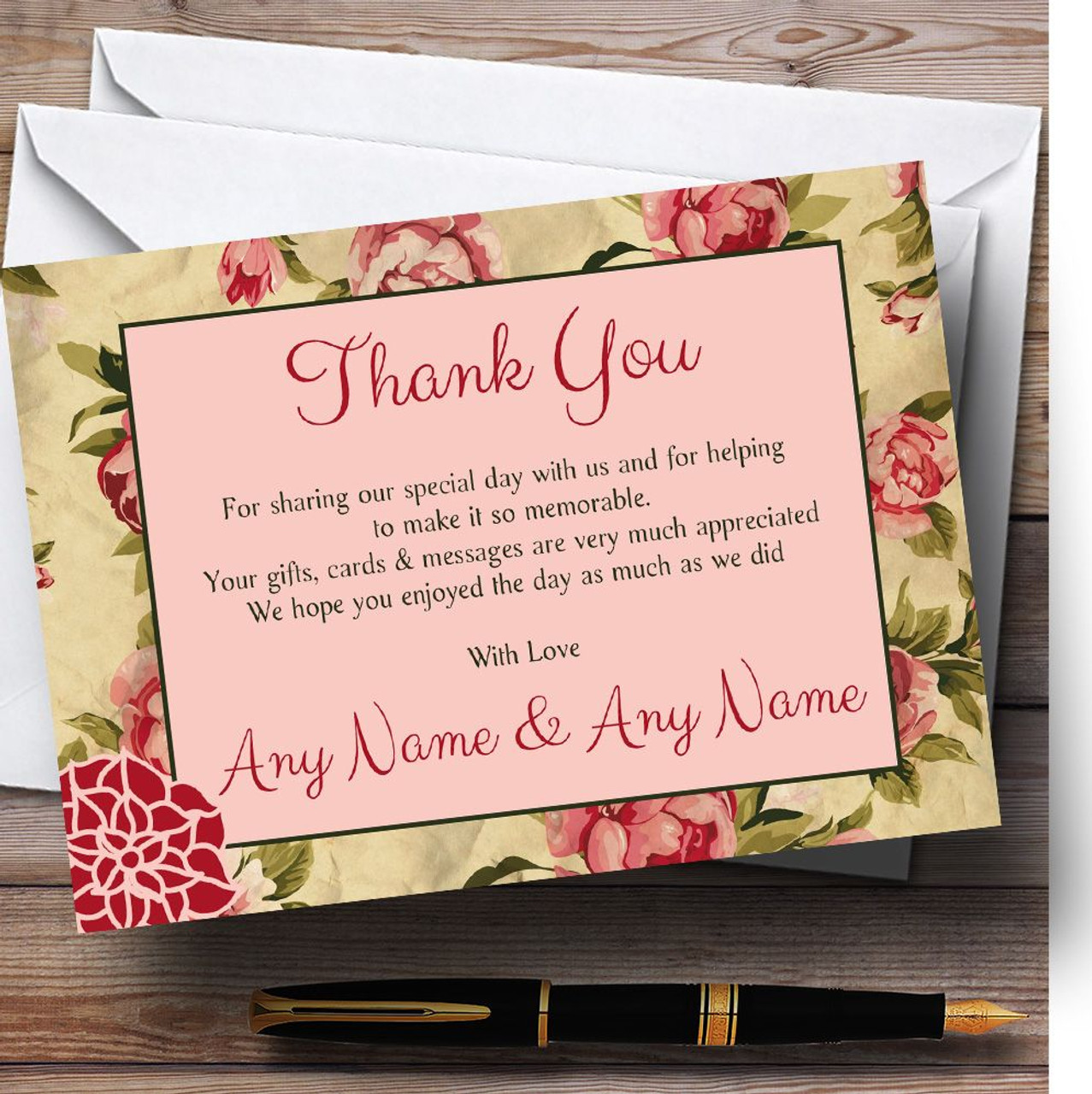 Shabby Chic Floral Vintage Deco Personalised Wedding Thank You Cards