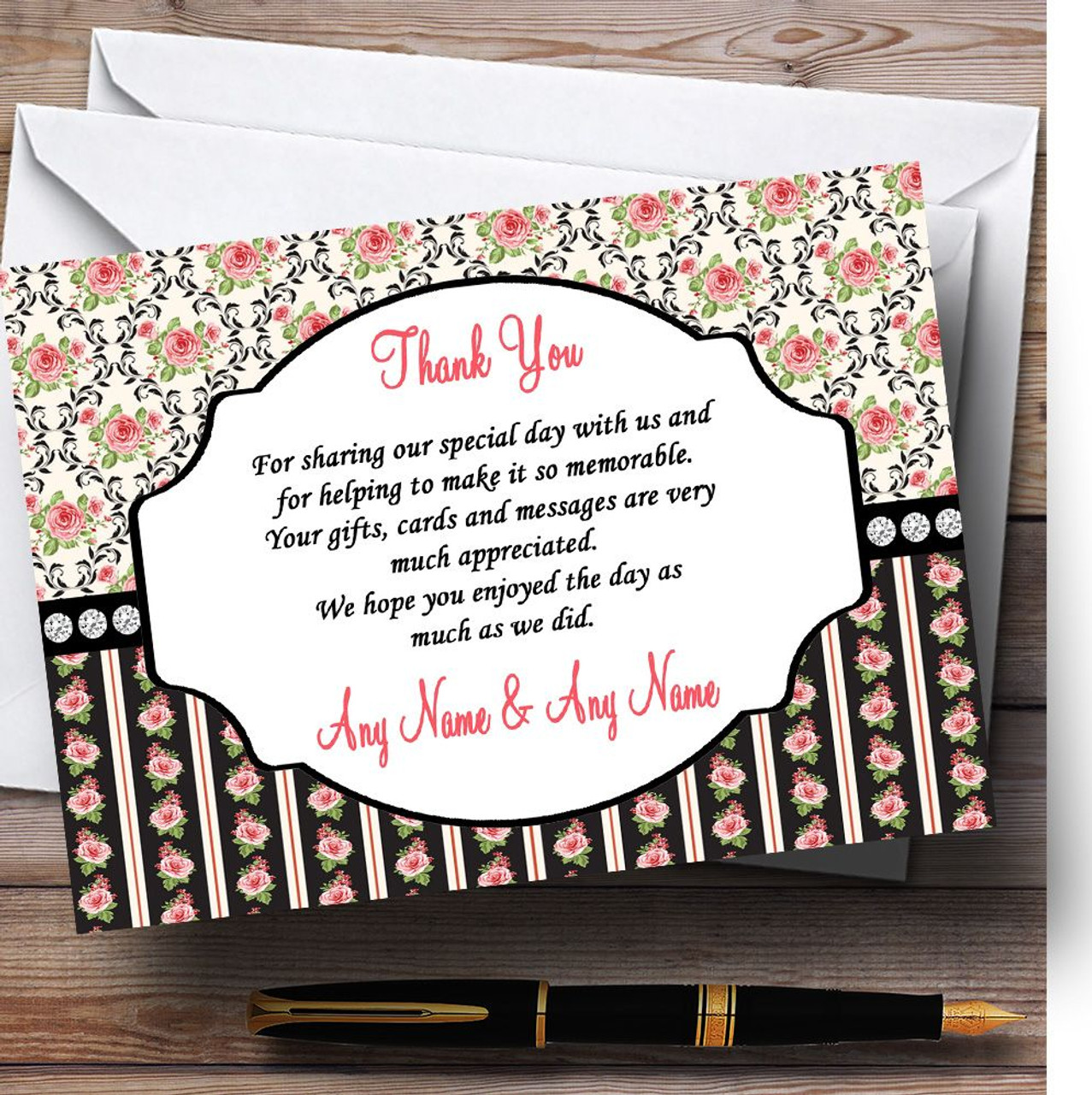 Black And Pink Shabby Chic Rose Tea Stripes Personalised Wedding