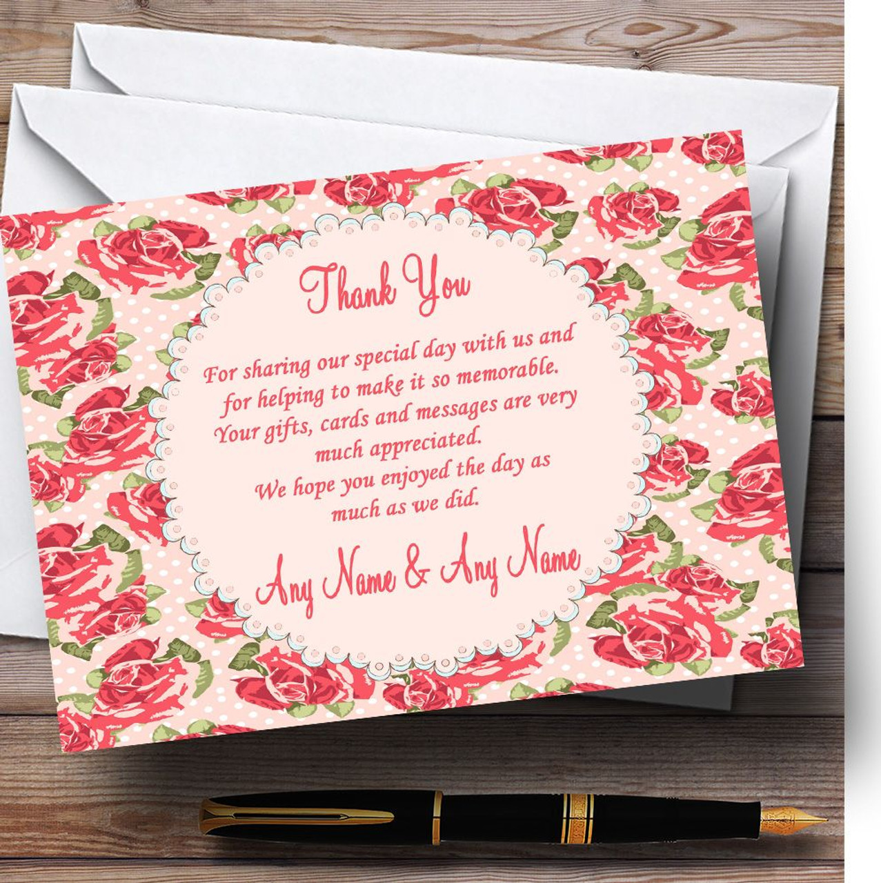 Coral Pink Floral Shabby Chic Chintz Personalised Wedding Thank You
