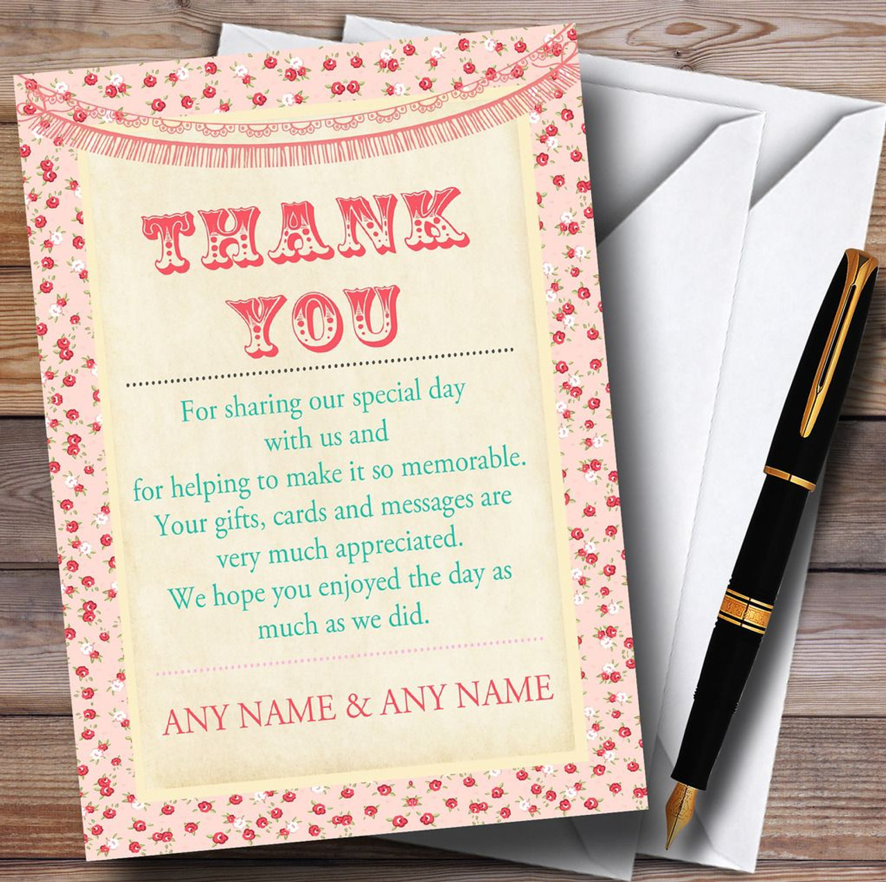 Pink Roses Shabby Chic Garland Personalised Wedding Thank You Cards