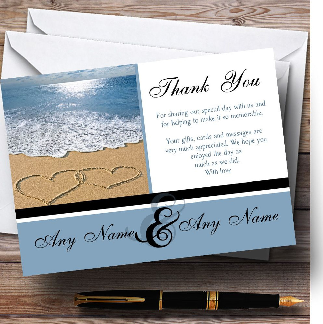 Love heart sand beach sea personalised wedding thank you cards the love heart sand beach sea personalised wedding thank you cards kristyandbryce Gallery