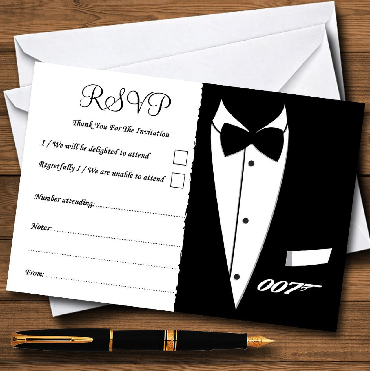 James bond personalised rsvp cards the card zoo james bond personalised rsvp cards stopboris Images