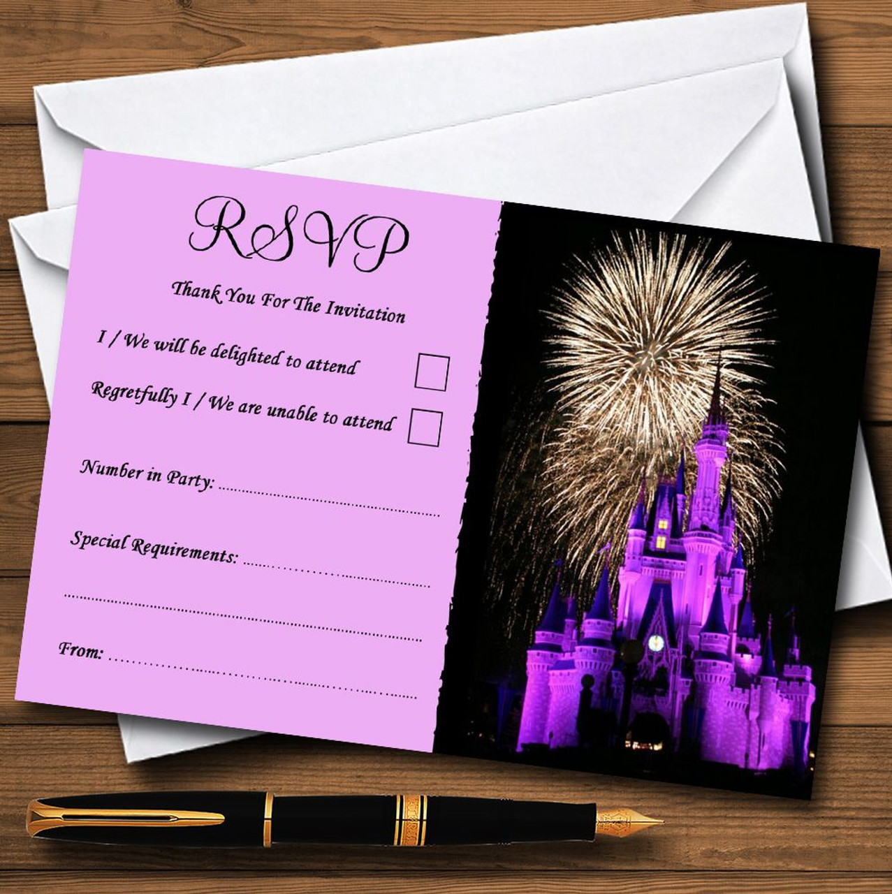Disney Castle Fireworks Personalised RSVP Cards - The Card Zoo