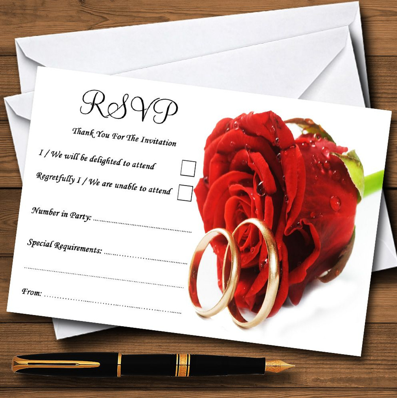 Red Romantic Rose Rings Personalised RSVP Cards - The Card Zoo