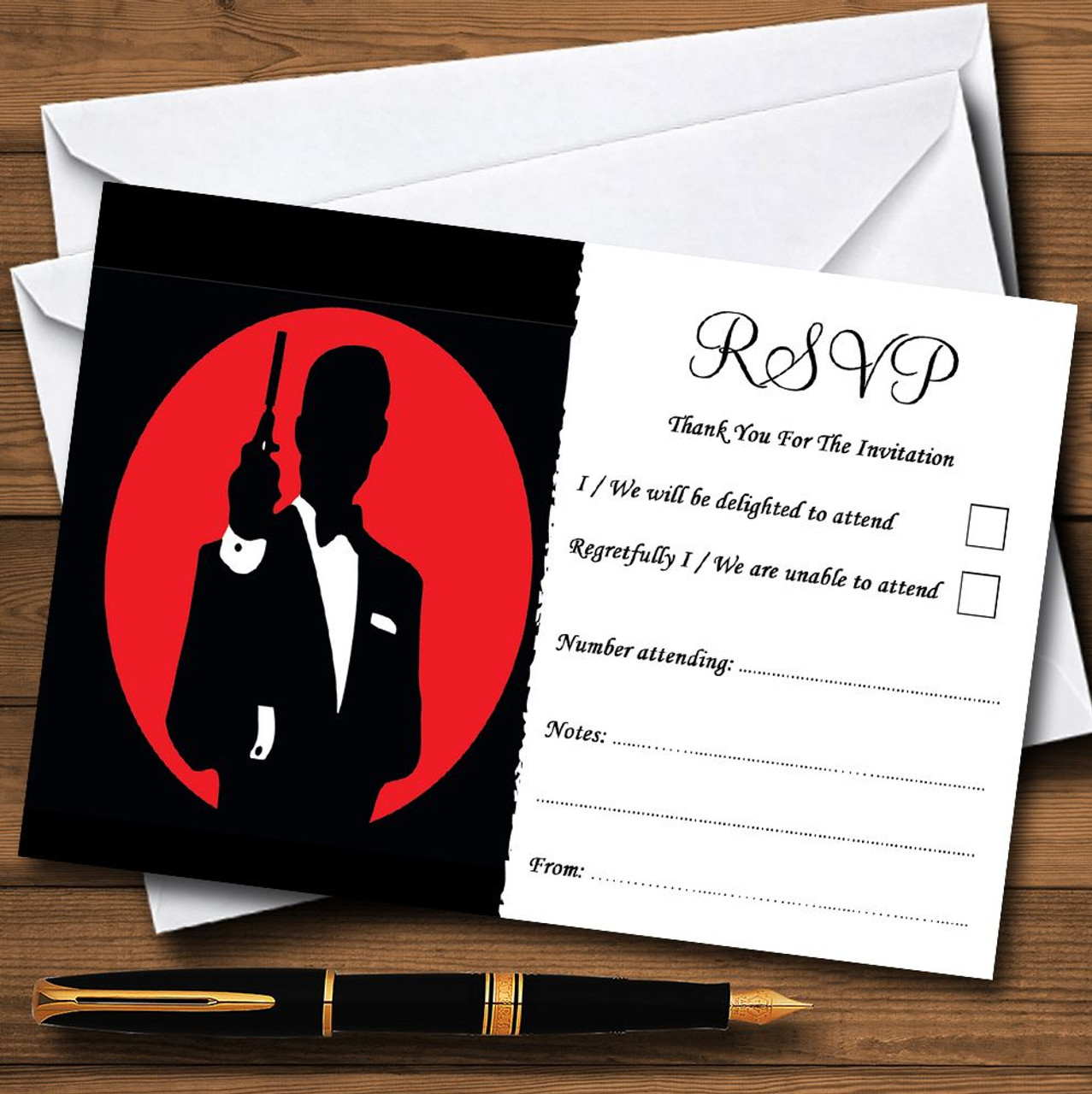 James Bond Special Agent Personalised RSVP Cards - The Card Zoo