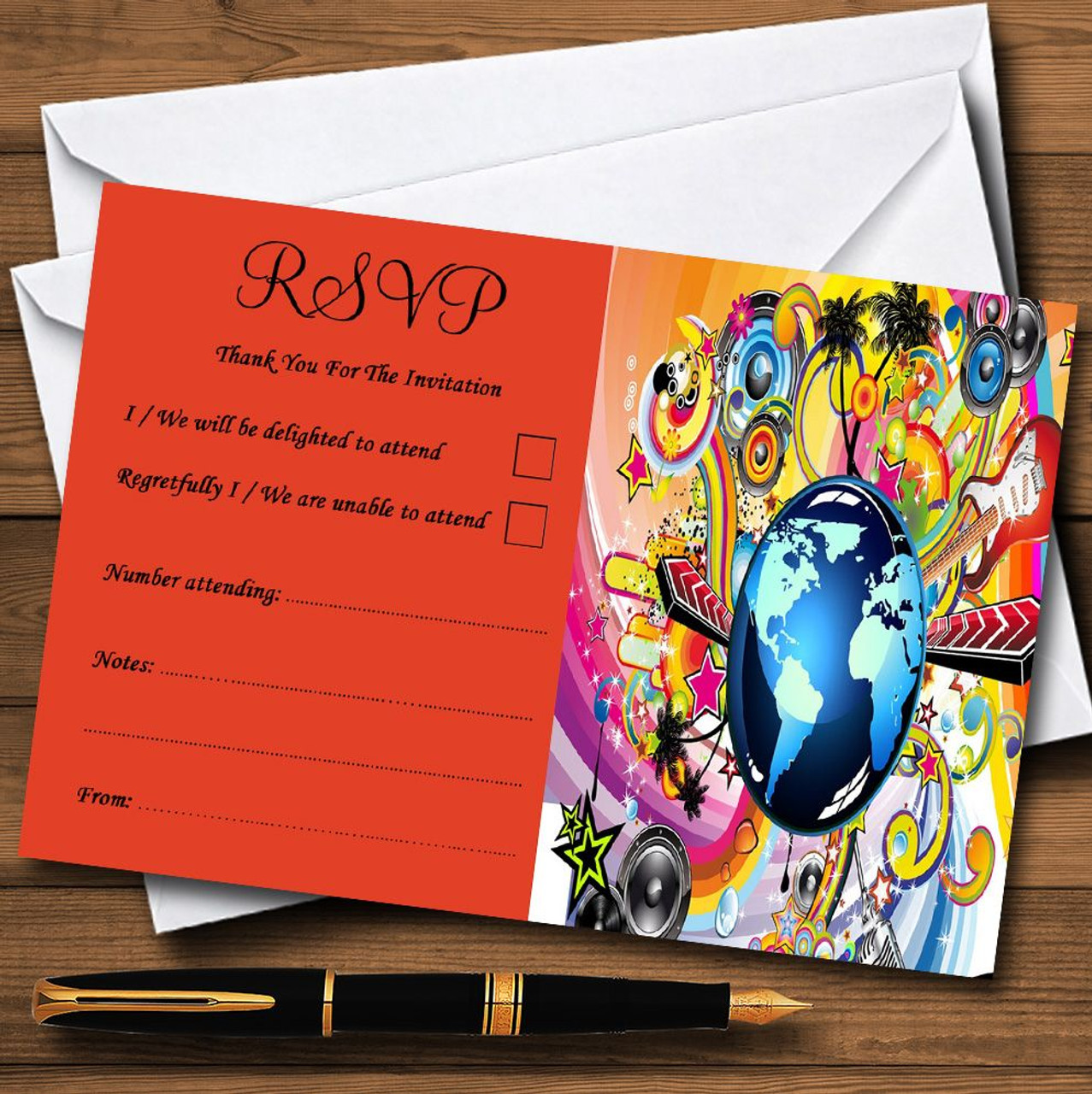 Orange Retro Music Funky Personalised RSVP Cards - The Card Zoo