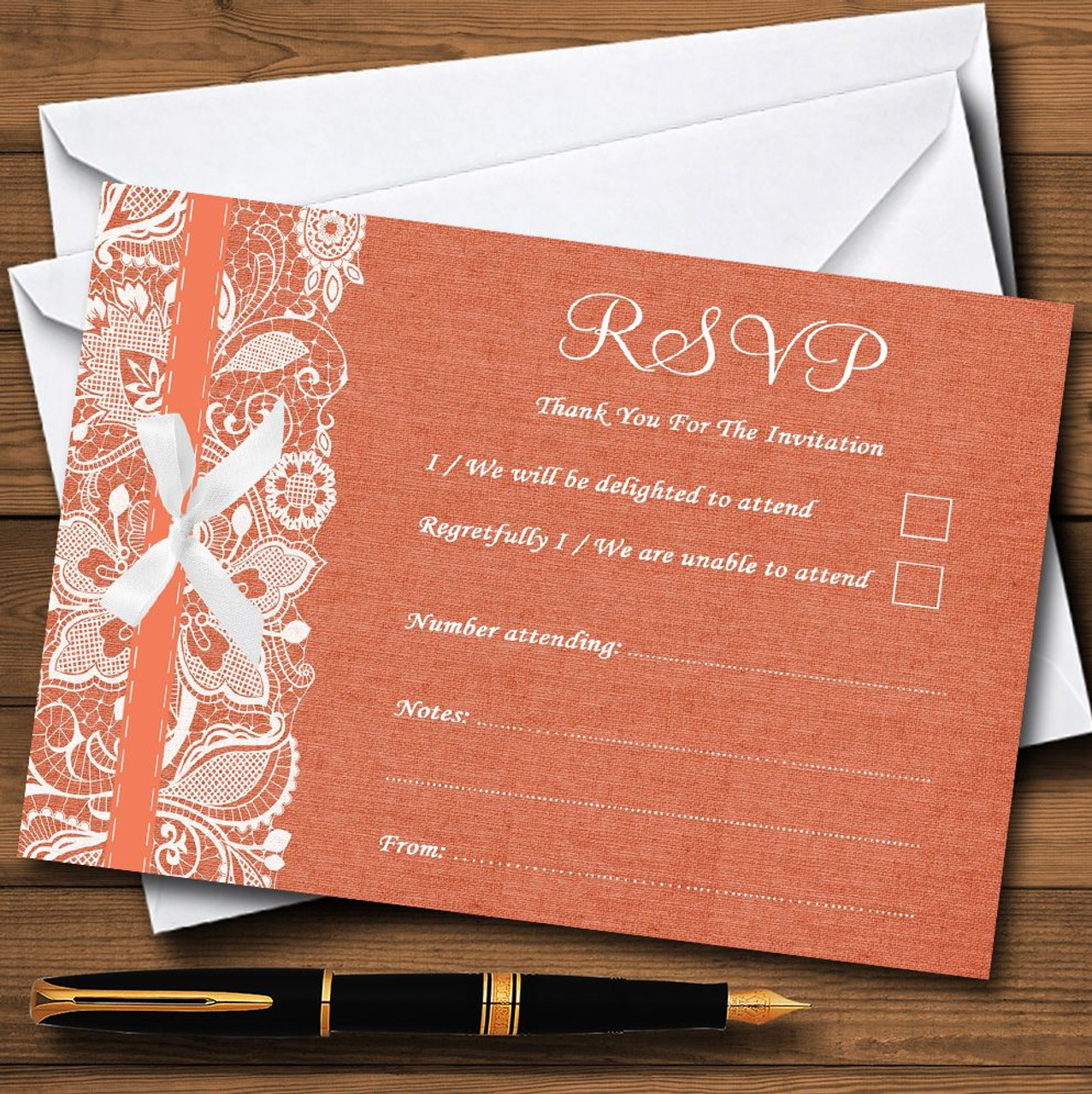 Vintage Coral Burlap & Lace Personalised RSVP Cards - The Card Zoo