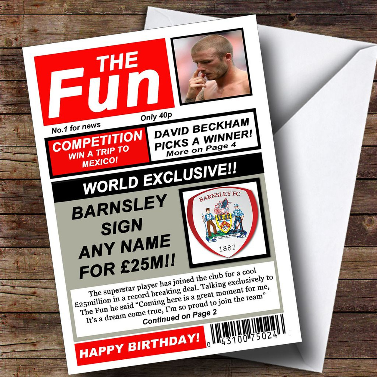 Barnsley football fan funny newspaper personalised birthday card barnsley football fan funny newspaper personalised birthday card bookmarktalkfo Image collections