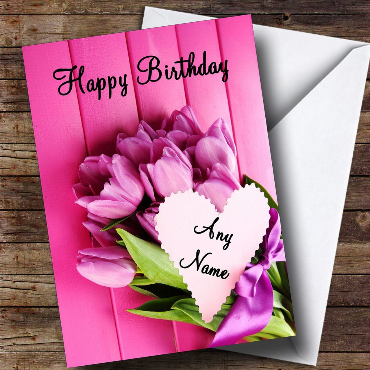 Pink Bunch Of Flowers Romantic Personalised Birthday Card The Card Zoo