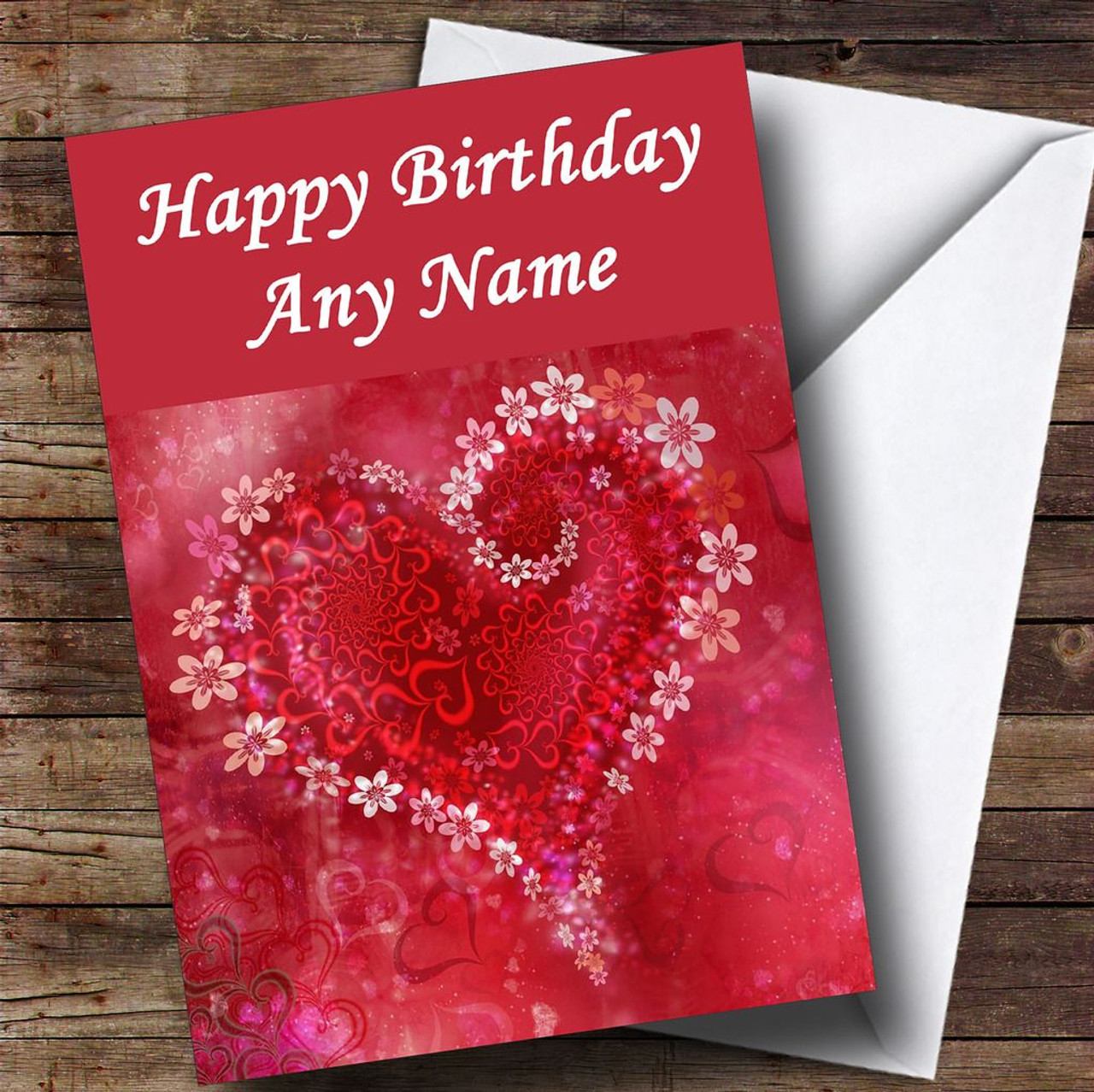 Red Flower Love Heart Romantic Personalised Birthday Card - The Card Zoo