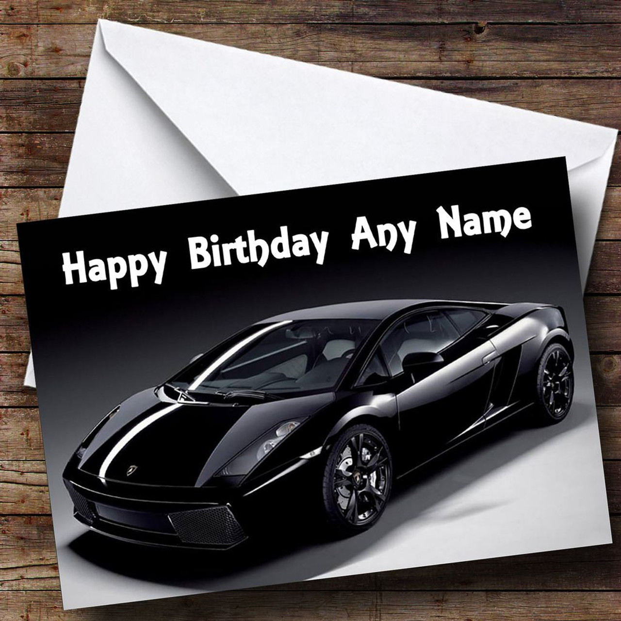 Black Lamborghini Gallardo Personalised Birthday Card