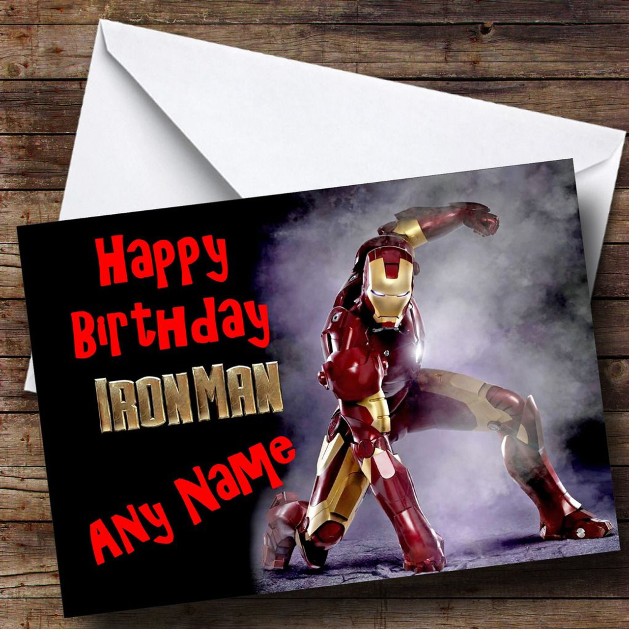 Iron man personalised birthday card the card zoo iron man personalised birthday card bookmarktalkfo Images