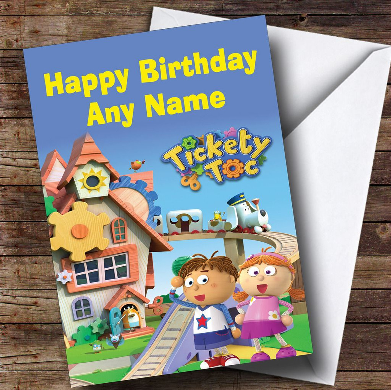 Tickety Toc Blue Personalised Childrens Birthday Card The Card Zoo