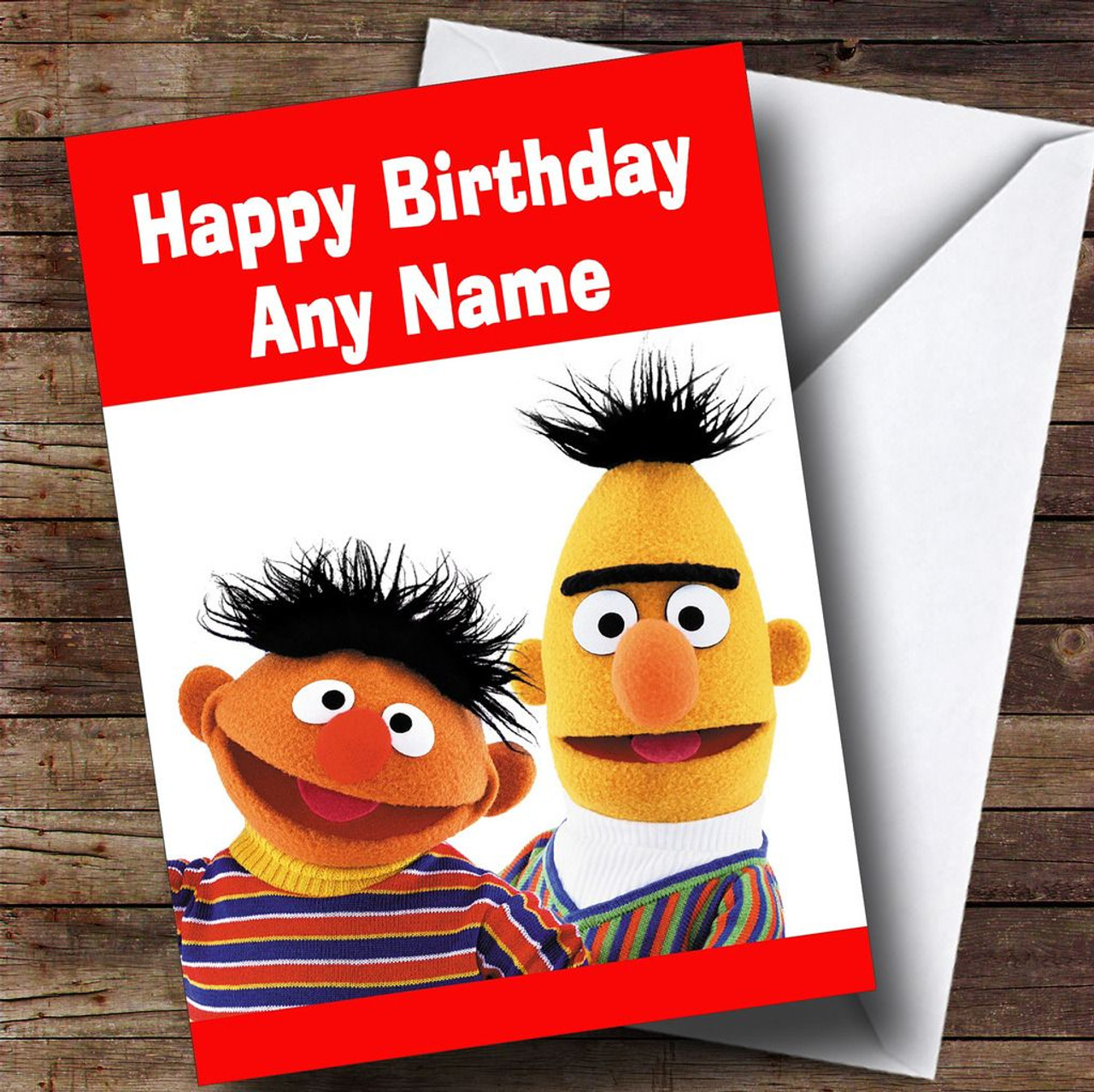 Personalised cards birthday cards kids tv film character bert and ernie personalised childrens birthday card kristyandbryce Gallery