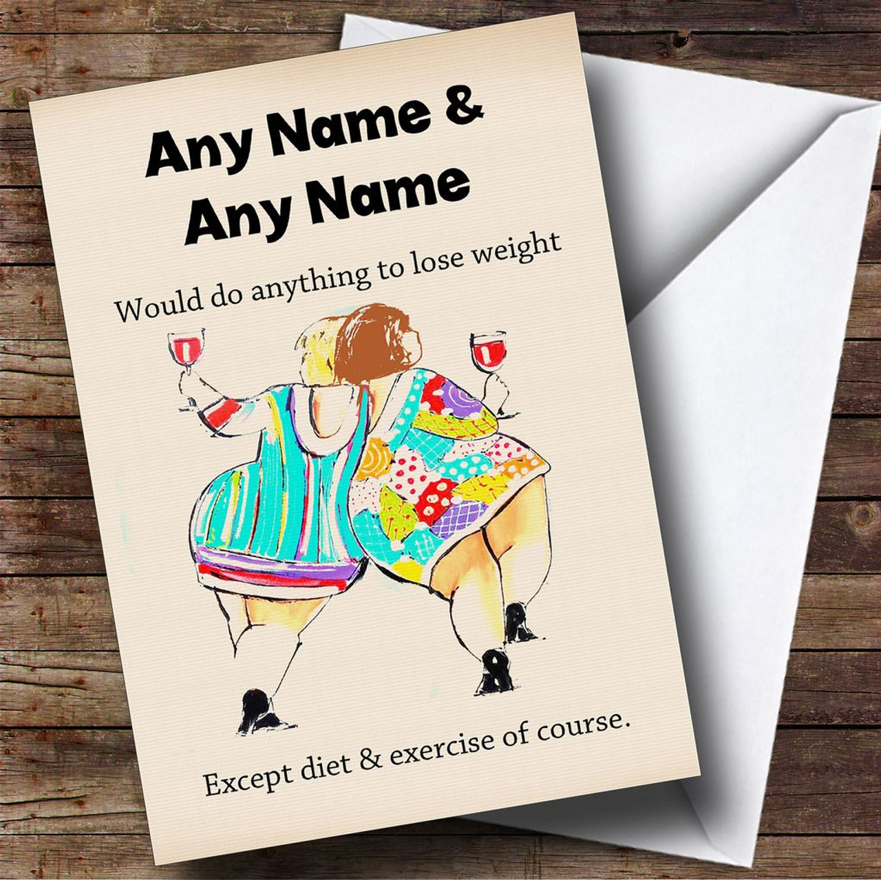 Funny Joke Fat Friends Personalised Birthday Card The Card Zoo