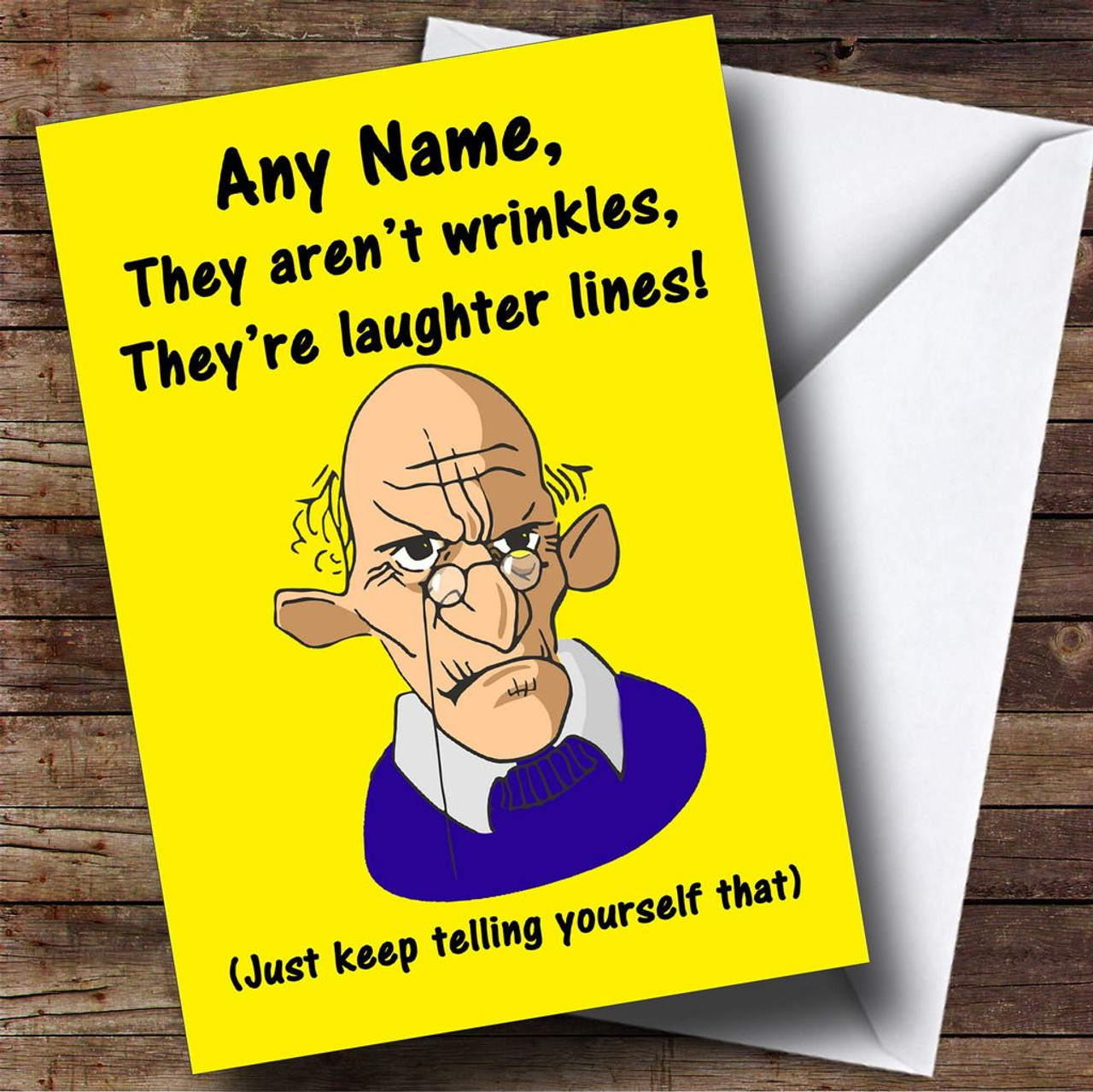 Old Man Laughter Lines Wrinkles Funny Personalised