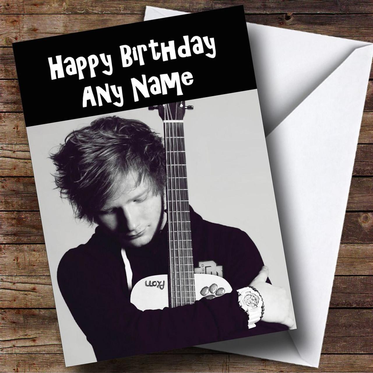 Ed sheeran black white personalised birthday card the card zoo ed sheeran black white personalised birthday card kristyandbryce Gallery