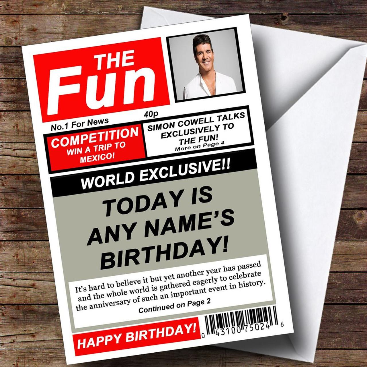 Funny joke spoof newspaper personalised birthday card the card zoo funny joke spoof newspaper personalised birthday card stopboris Images