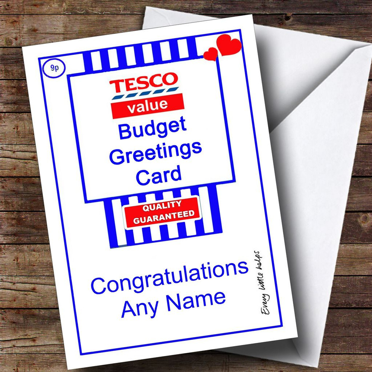 Funny Joke Tesco Value Spoof Personalised Congratulations Card The