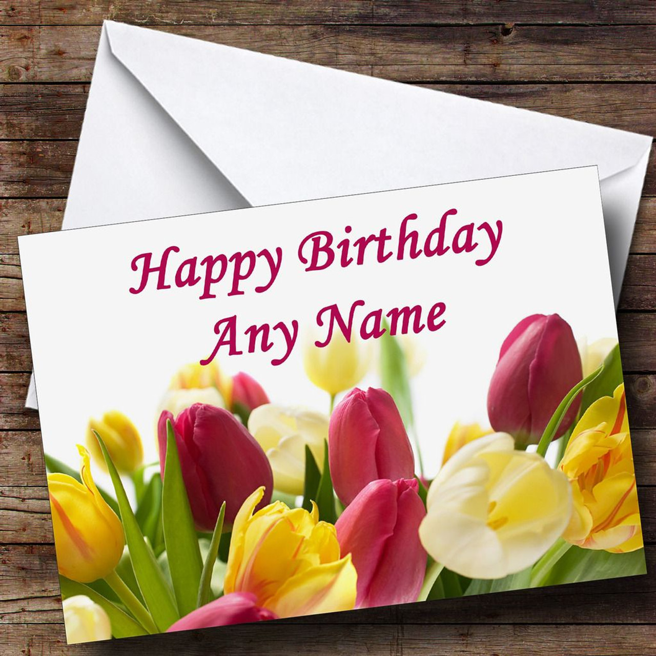 Tulip flowers personalised birthday card the card zoo tulip flowers personalised birthday card izmirmasajfo