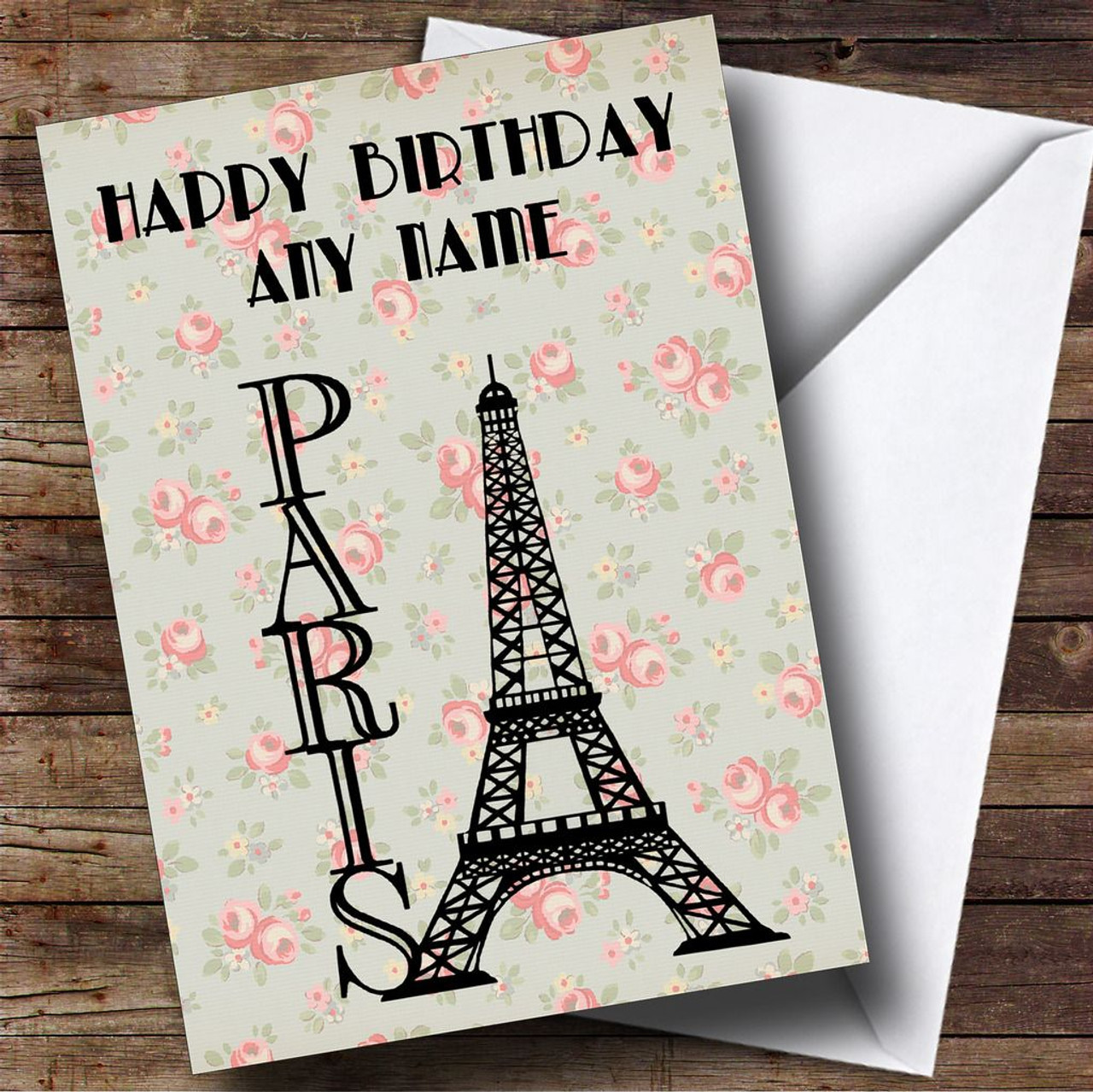 Personalised cards birthday cards design birthday cards page 1 paris eiffel tower shabby chic personalised birthday card kristyandbryce Images