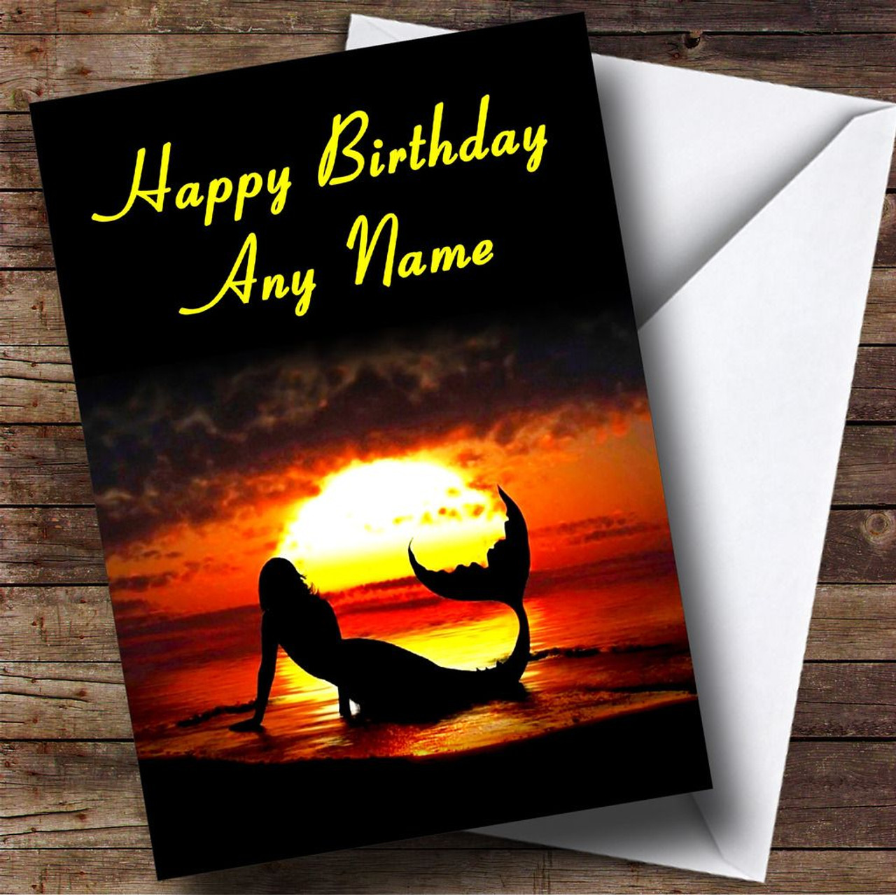Mermaid At Sunset Personalised Birthday Card
