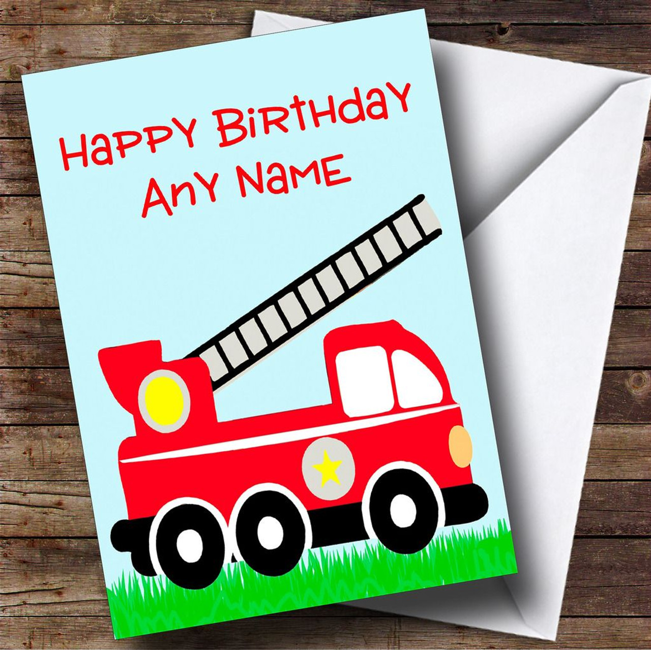 Fire Engine Fireman Personalised Birthday Card - The Card Zoo