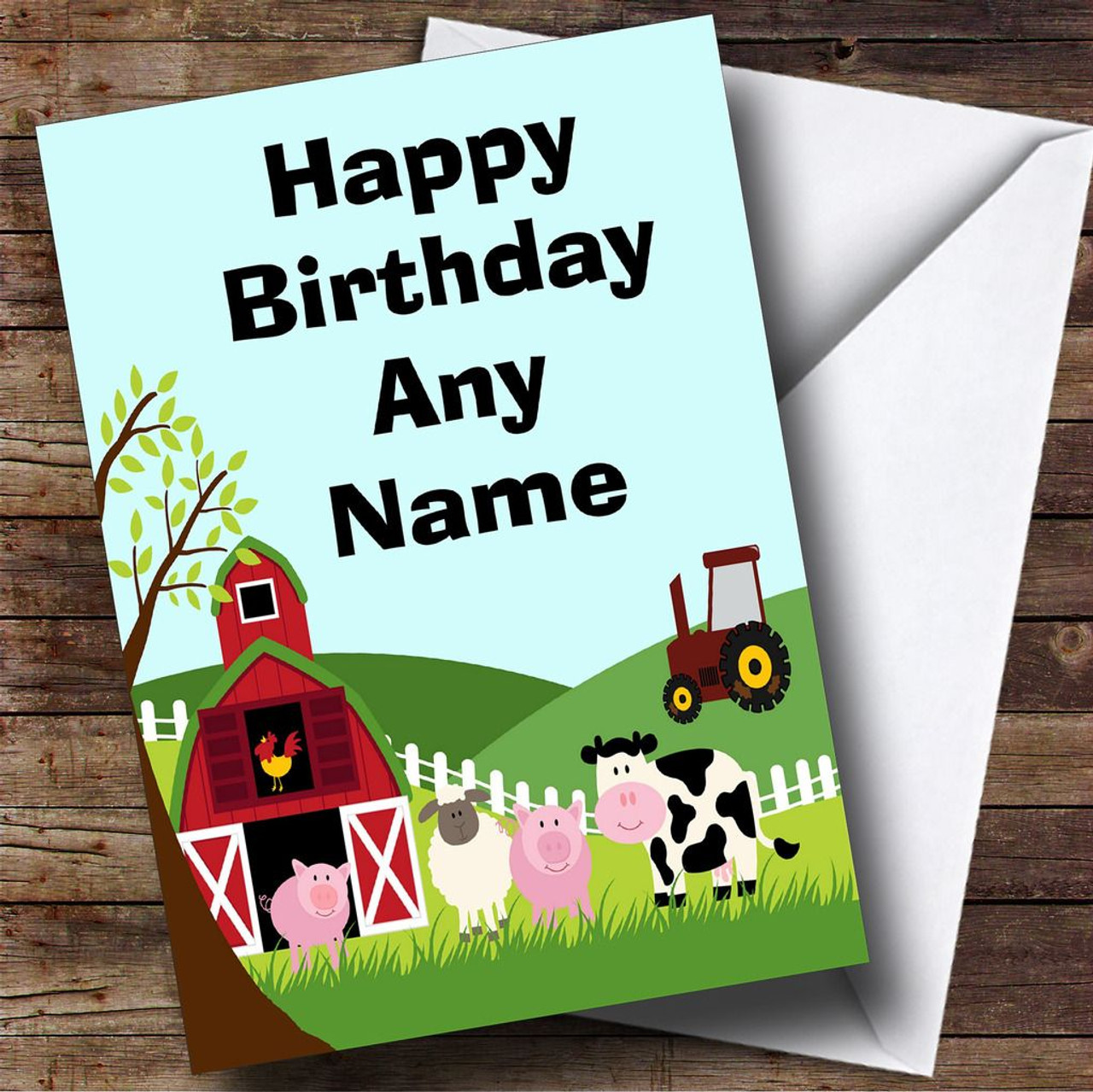 Farm animals and tractor personalised birthday card the card zoo farm animals and tractor personalised birthday card kristyandbryce Images