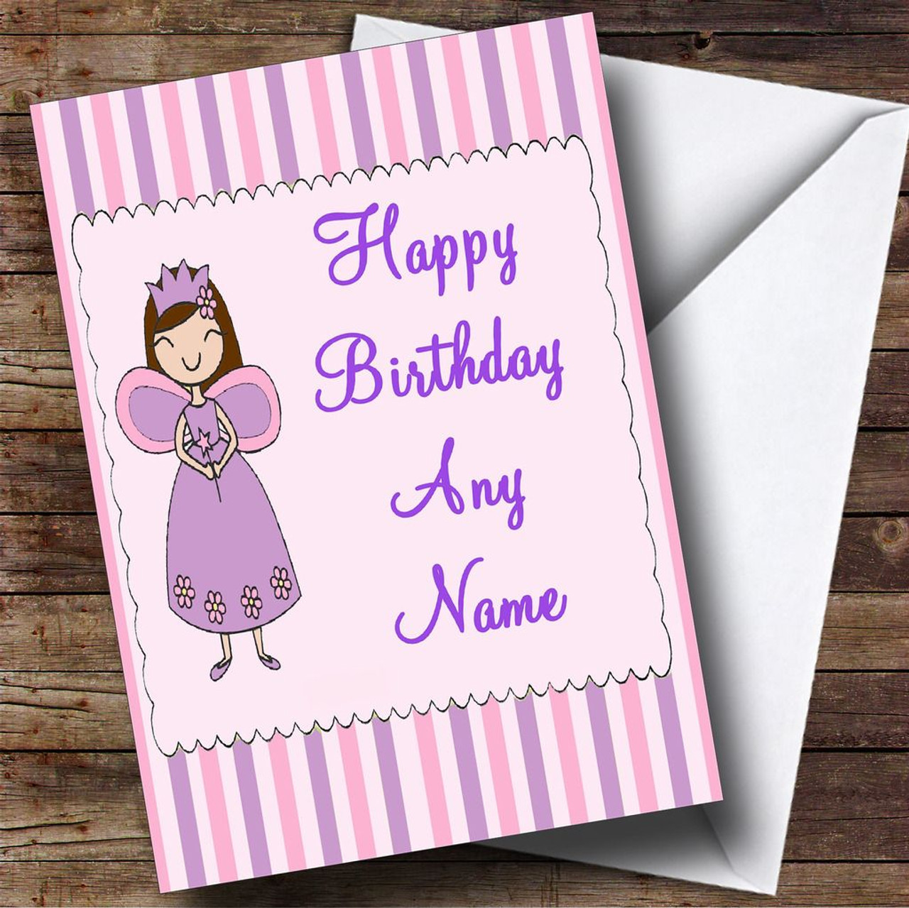 Candy Stripe Fairy Personalised Birthday Card