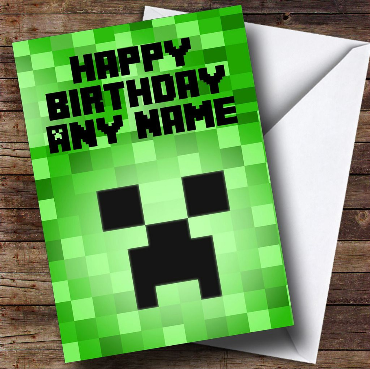 Minecraft Creeper Personalised Birthday Card