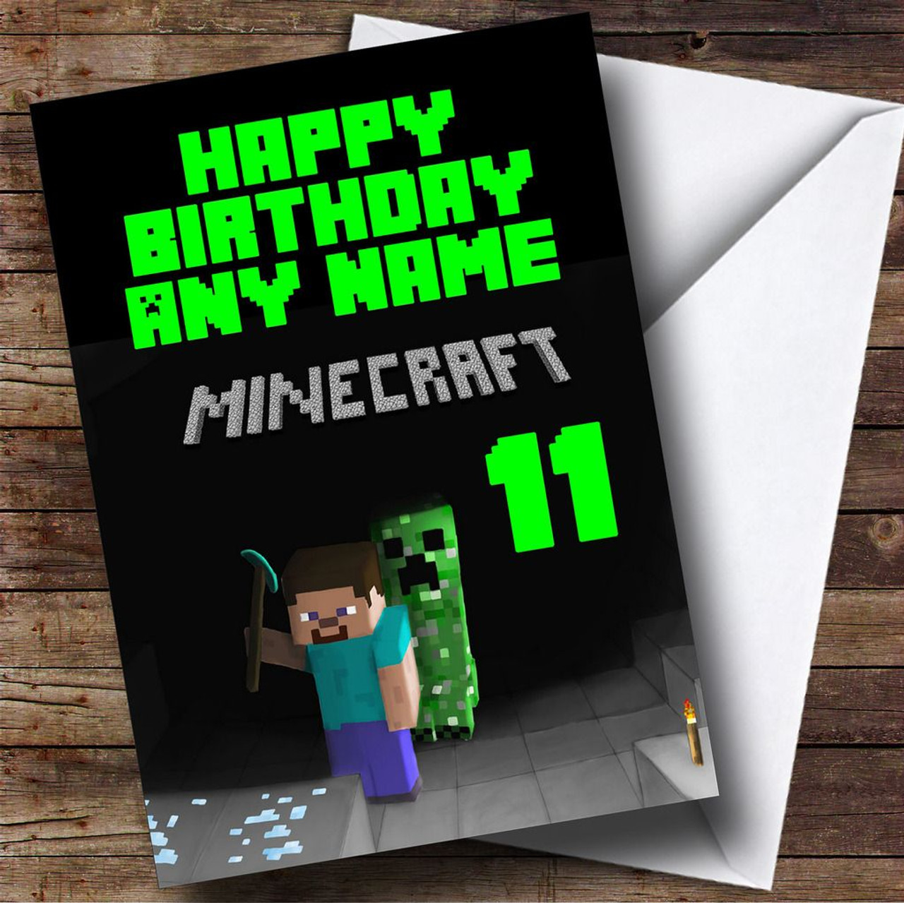Minecraft black personalised birthday card the card zoo minecraft black personalised birthday card bookmarktalkfo Image collections