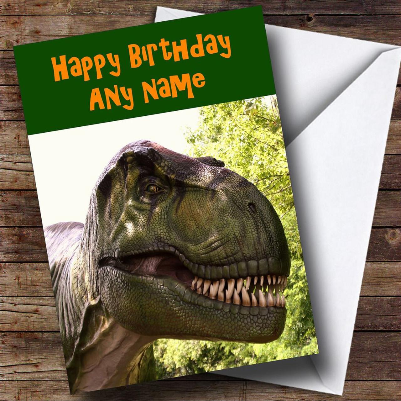Dinosaur T Rex Personalised Birthday Card
