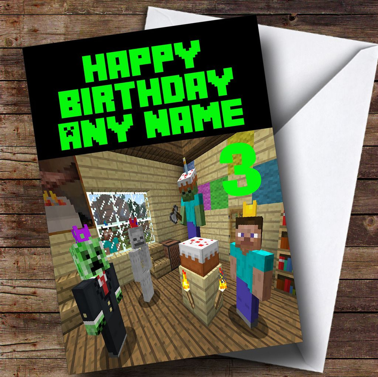 Minecraft personalised birthday card the card zoo minecraft party personalised childrens birthday card bookmarktalkfo Gallery