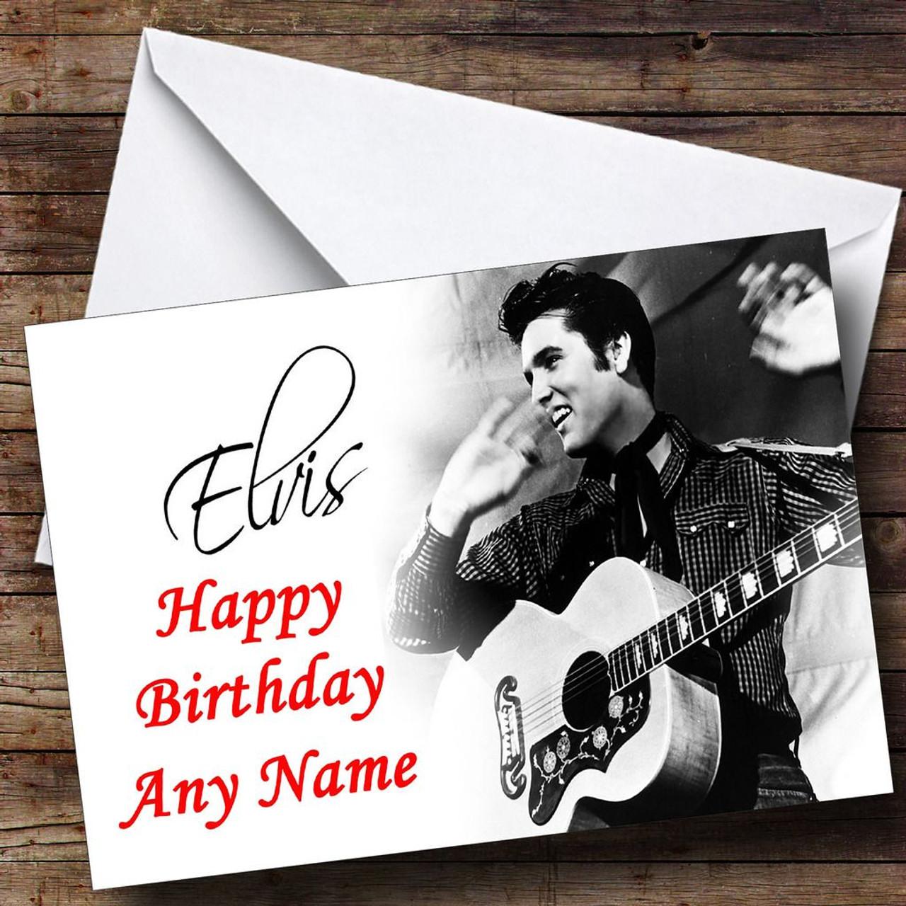 Elvis Presley Black & White Personalised Birthday Card