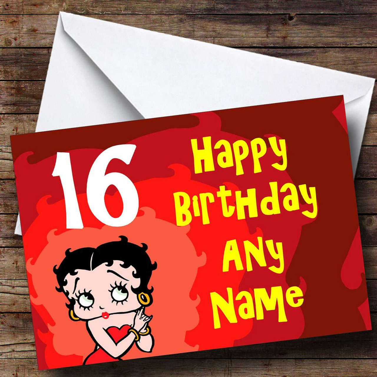 Red Betty Boop Personalised Birthday Card - The Card Zoo