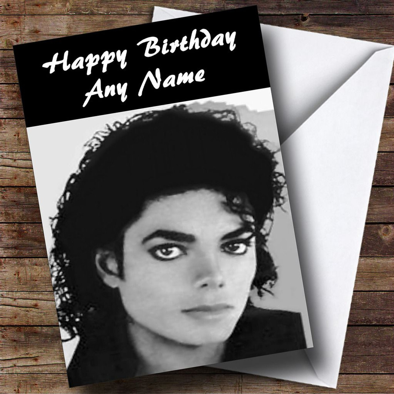 Michael Jackson Black White Personalised Birthday Card