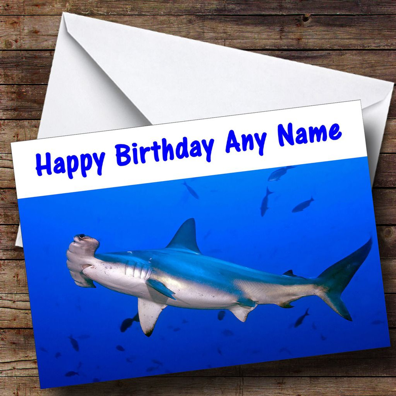 Hammerhead shark personalised birthday card the card zoo hammerhead shark personalised birthday card bookmarktalkfo Gallery