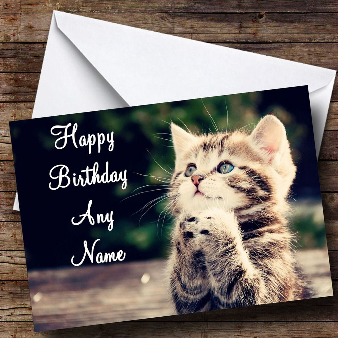 Funny Kitten Praying Personalised Birthday Card The Card Zoo