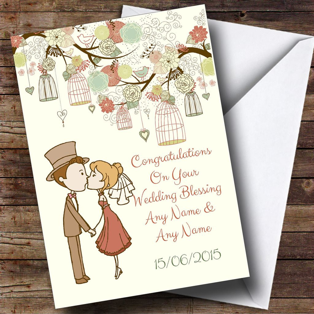 Vintage Birdcage Cute Couple Personalised Wedding Blessing Card ...