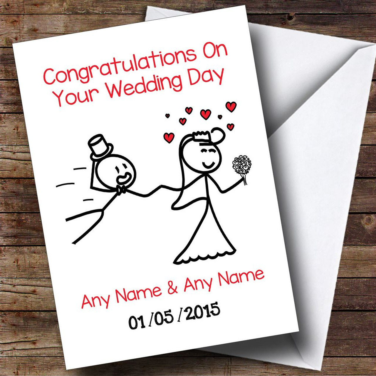 Funny Doodle Bride Dragging Groom Personalised Wedding Card