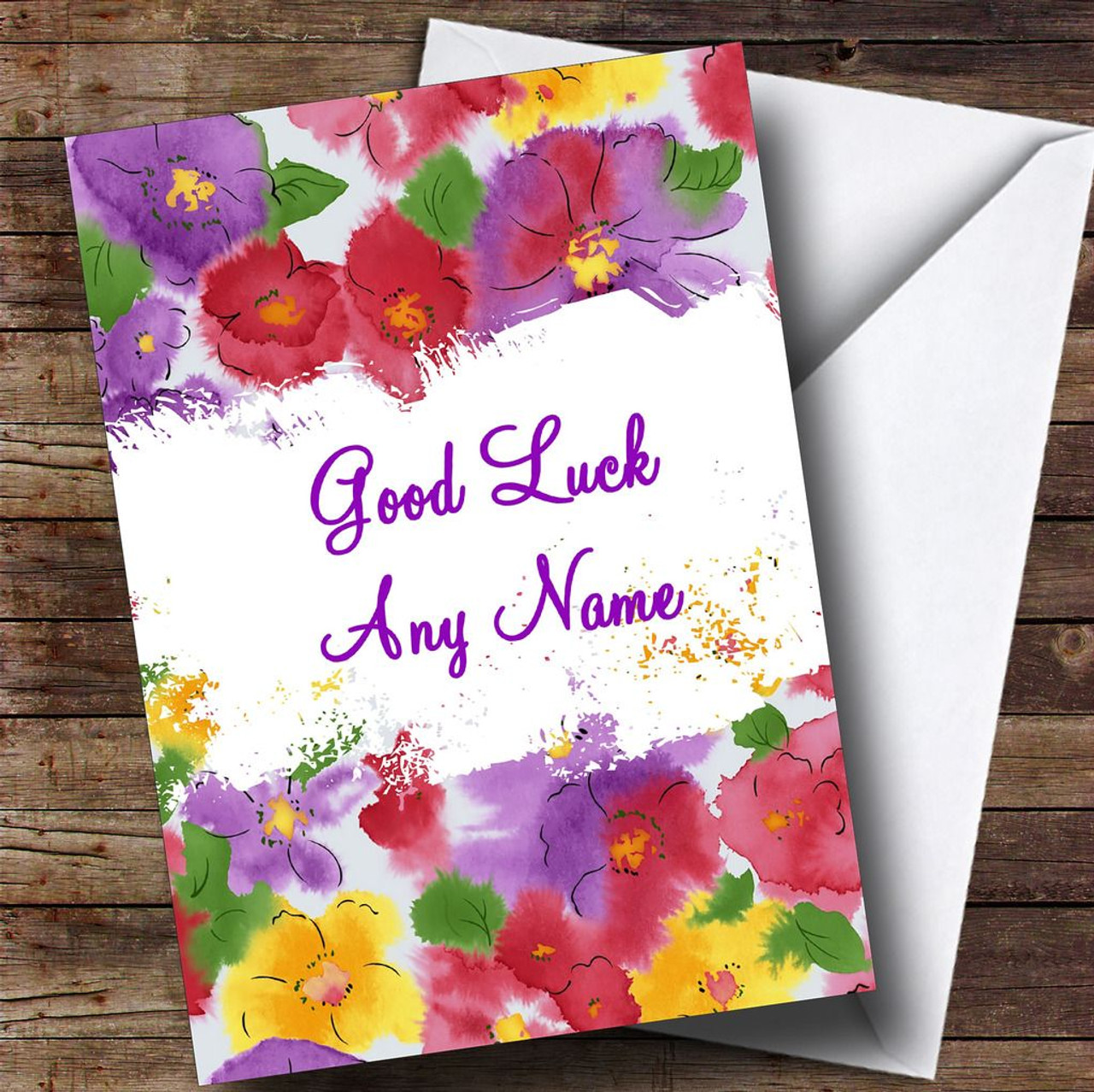 Lovely flowers personalised good luck card the card zoo lovely flowers personalised good luck card kristyandbryce Image collections