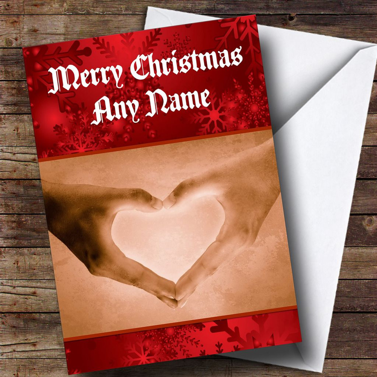 Love Heart Hands Romantic Personalised Christmas Card The Card Zoo