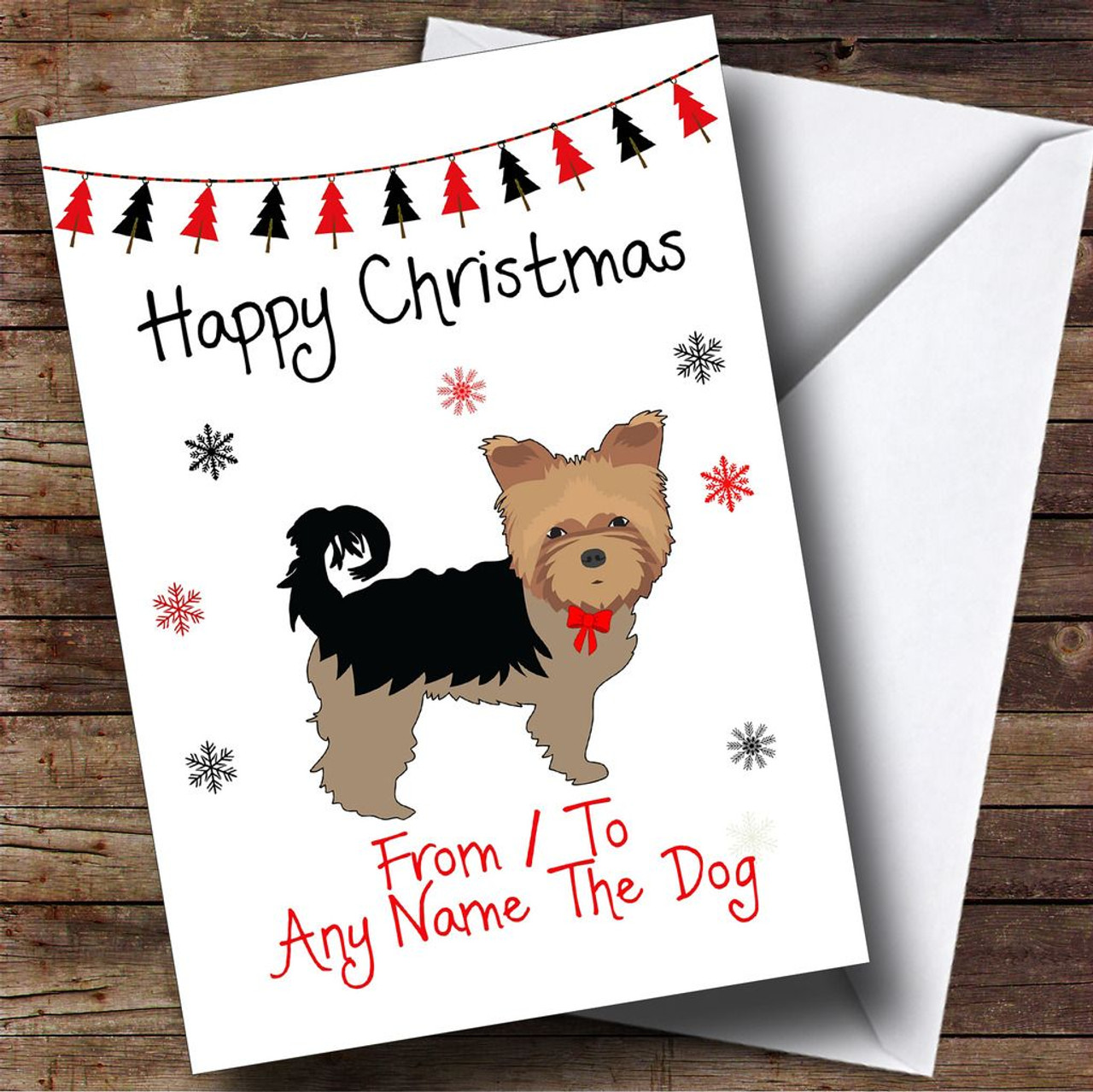 From Or To The Dog Yorkshire Terrier Pet Personalised Christmas Card