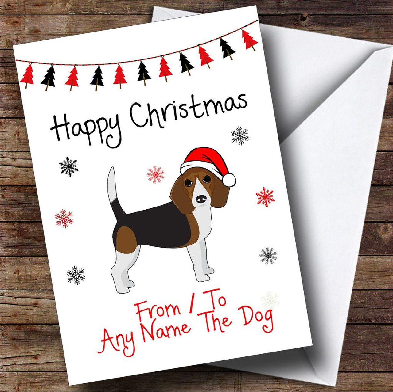 Dark Beagle From Or To The Dog Pet Personalised Christmas Card - The ...