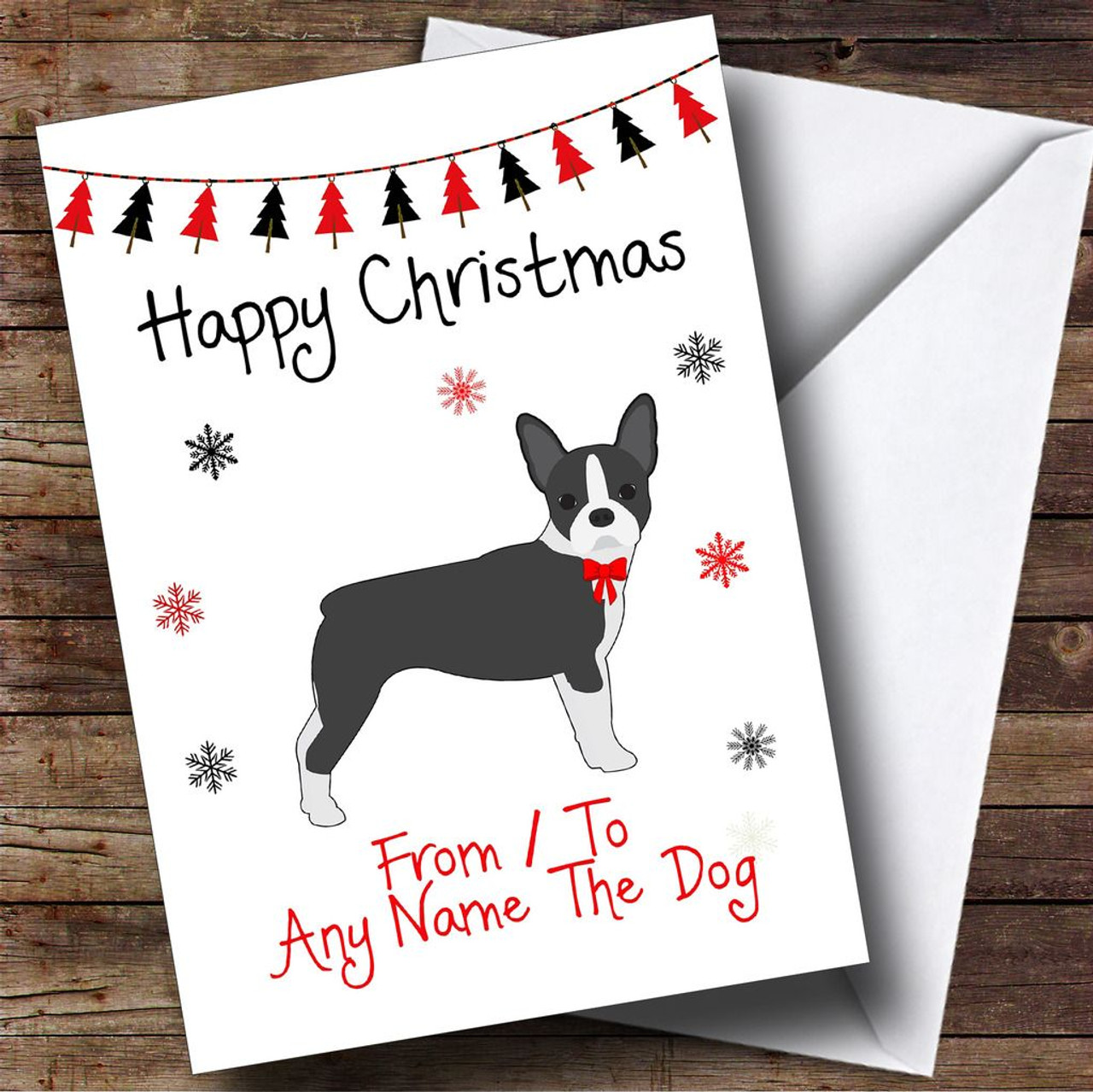 Boston terrier From Or To The Dog Pet Personalised Christmas Card ...