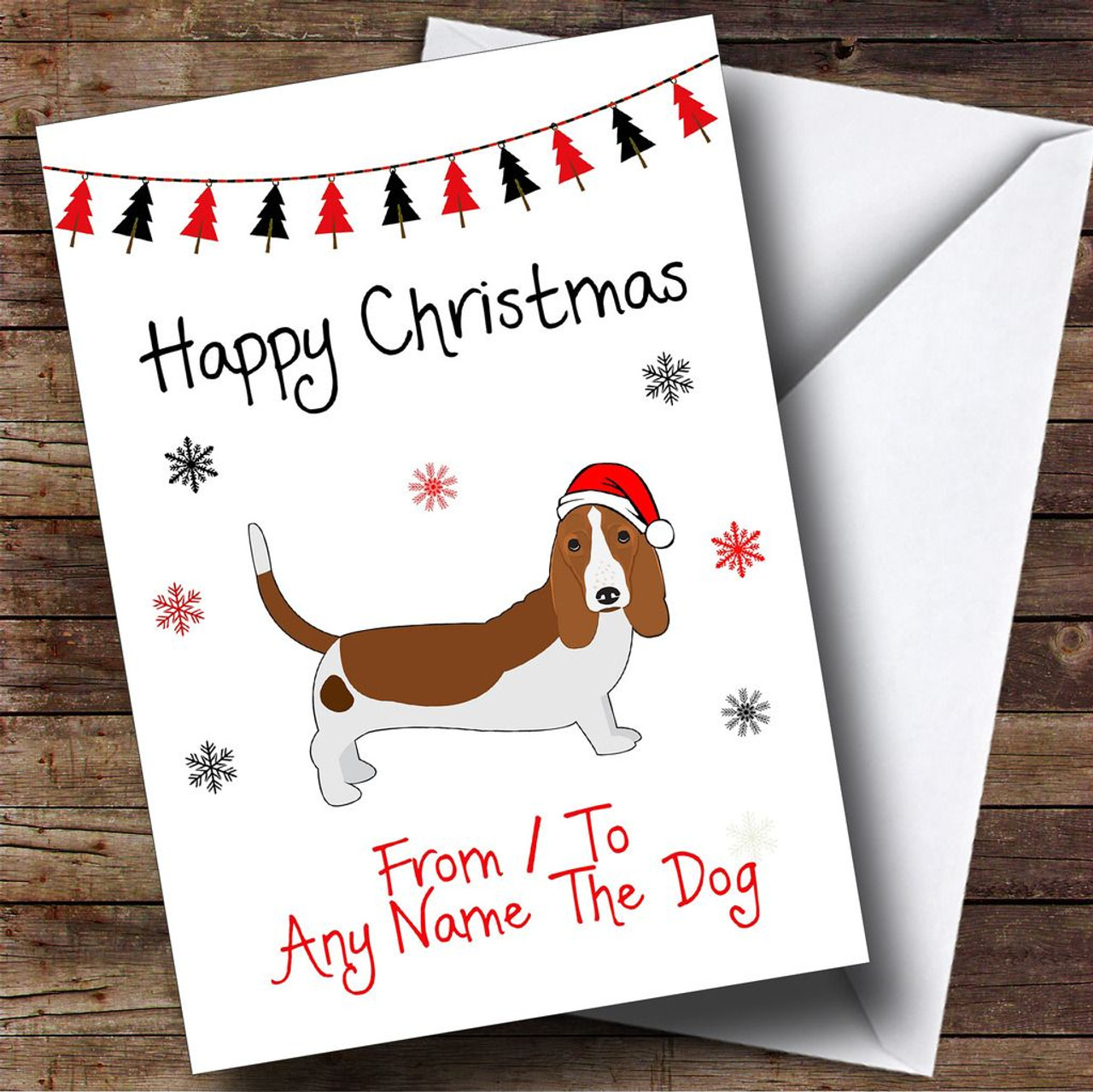Basset Hound From Or To The Dog Pet Personalised Christmas Card ...