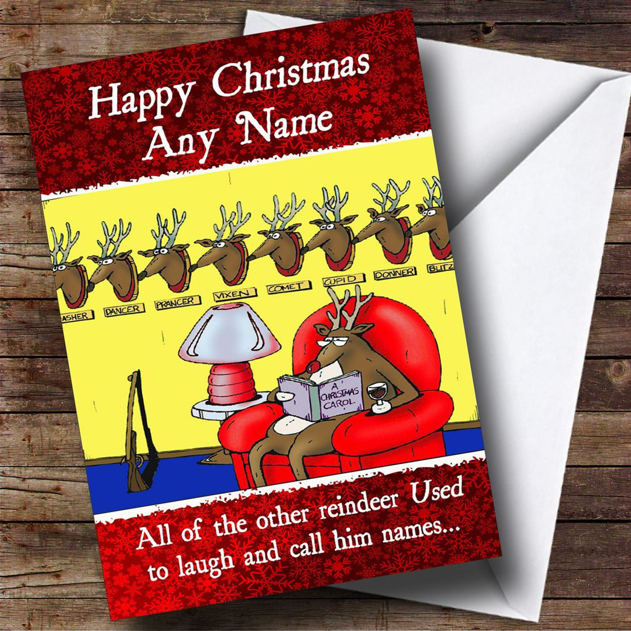 Funny rudolph joke christmas card personalised the card zoo funny rudolph joke christmas card personalised m4hsunfo