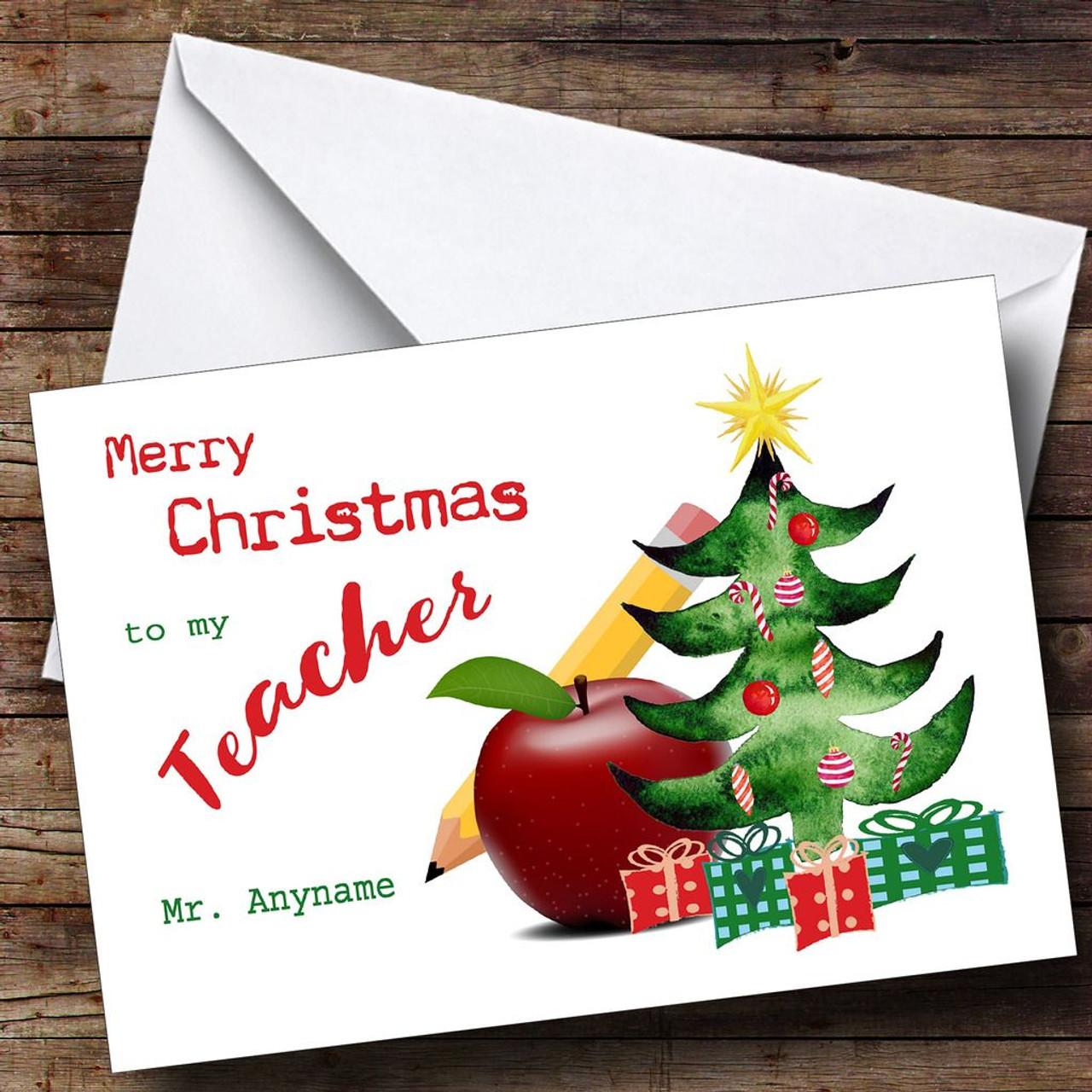 Apple teacher personalised christmas card the card zoo apple teacher personalised christmas card m4hsunfo
