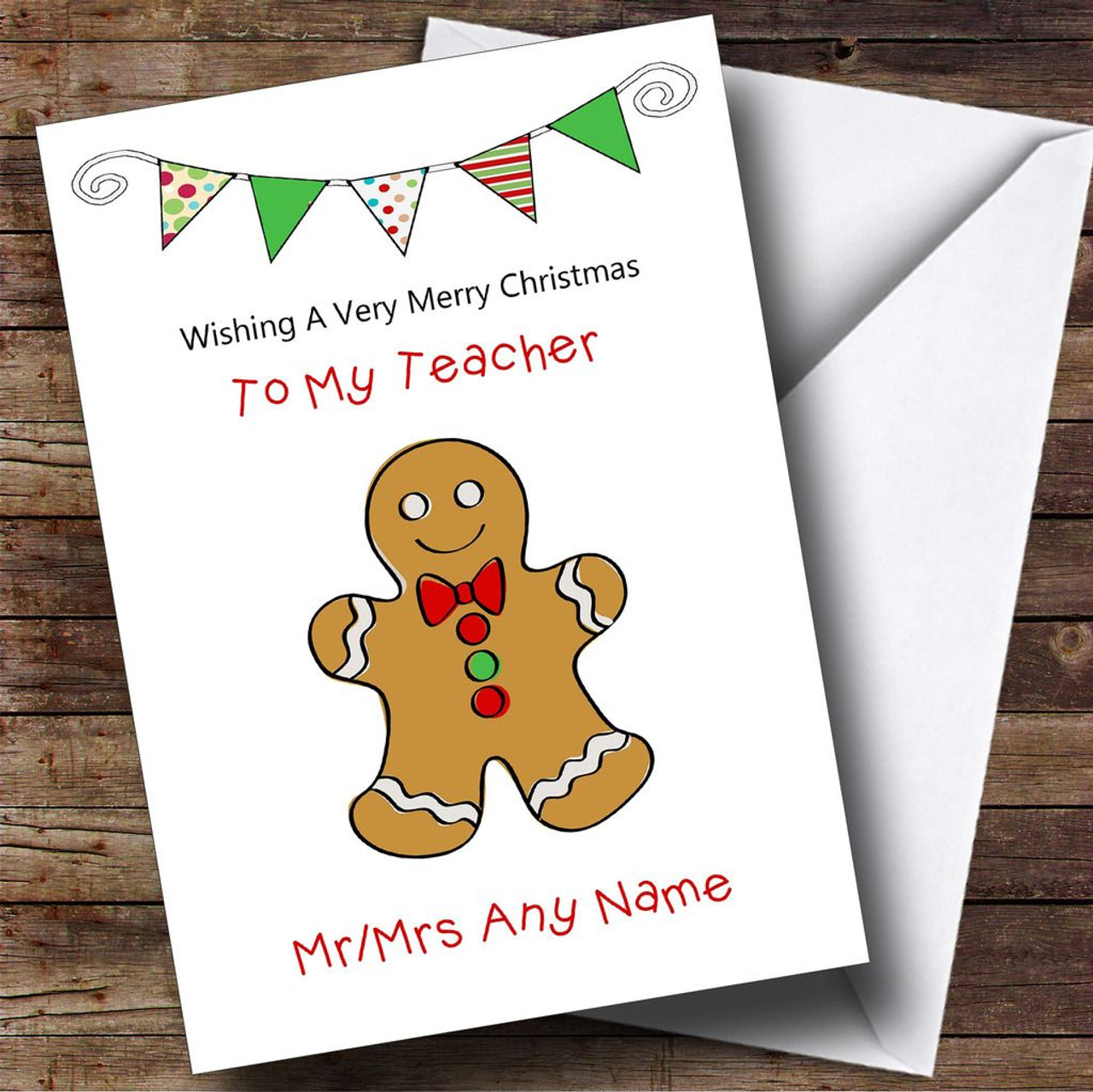 Doodle gingerbread man teacher personalised christmas card the doodle gingerbread man teacher personalised christmas card kristyandbryce Image collections