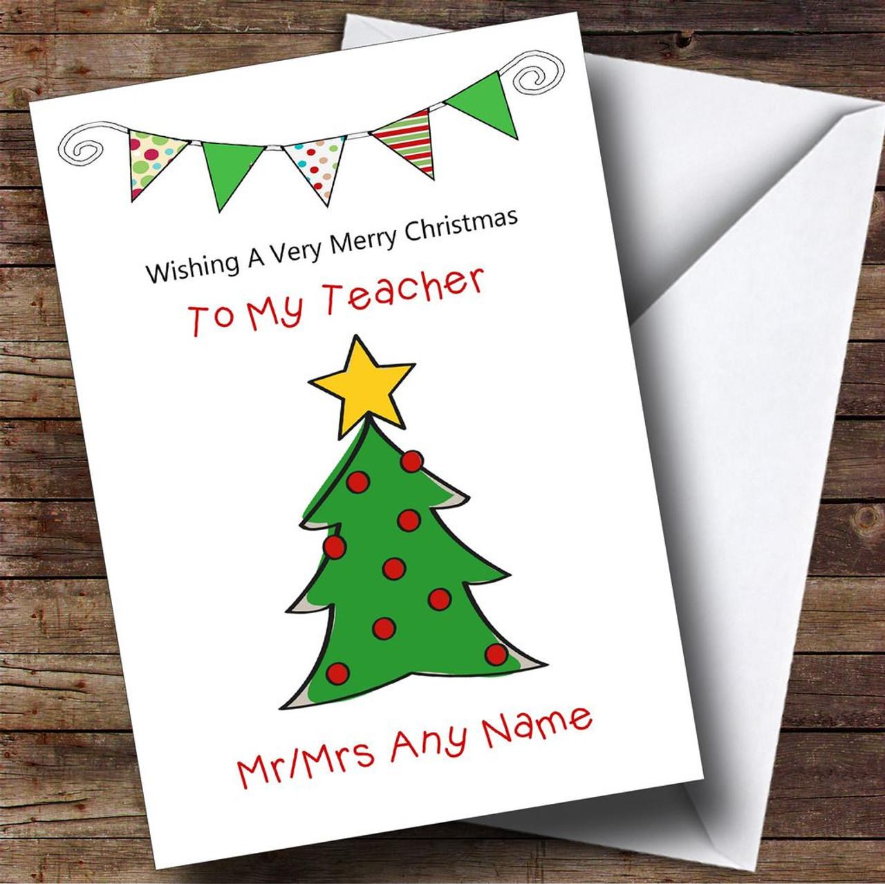 Personalised cards christmas cards christmas cards for teachers doodle christmas tree teacher personalised christmas card colourmoves